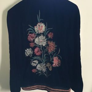 Zara velvet bomb lined jacket w/ Embroidered back